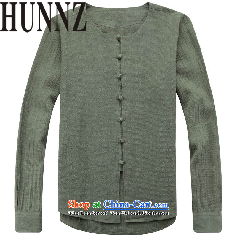 Tang Dynasty and long-sleeved HUNNZ round-neck collar thin cotton linen jacket, serving Chinese Nation retreat retro-ball-serving simple men Green�0