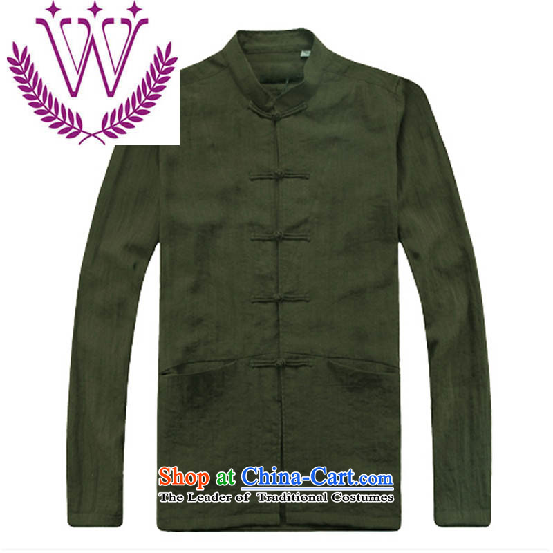 New Product retro China wind long-sleeved men cotton leprosy is Chinese Tang dynasty male in older ball collar military Green�0