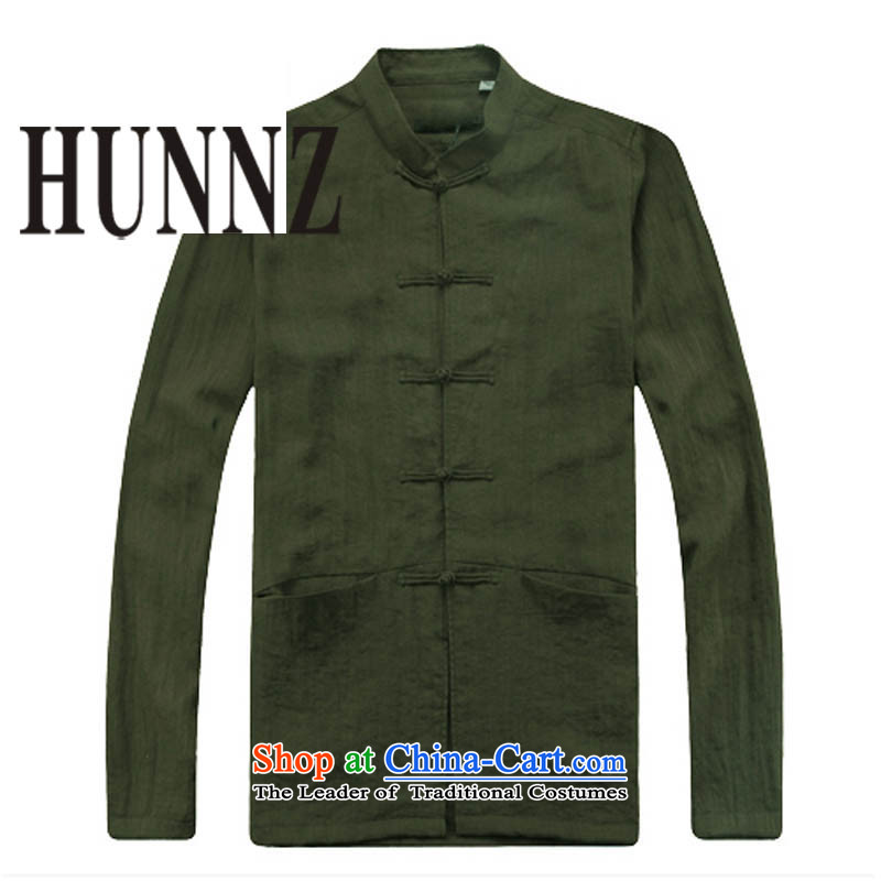 New Products retro China HUNNZ wind long-sleeved men cotton leprosy is Chinese Tang dynasty male in older ball collar military Green�5