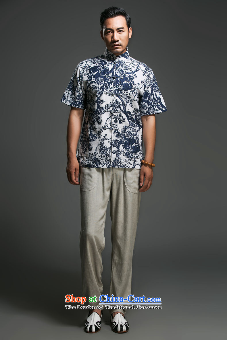 Renowned Chinese short-sleeved shirt linen clothes men and stylish lounge loose cotton linen tunic men linen clothes men short-sleeved blueL picture, prices, brand platters! The elections are supplied in the national character of distribution, so action, buy now enjoy more preferential! As soon as possible.