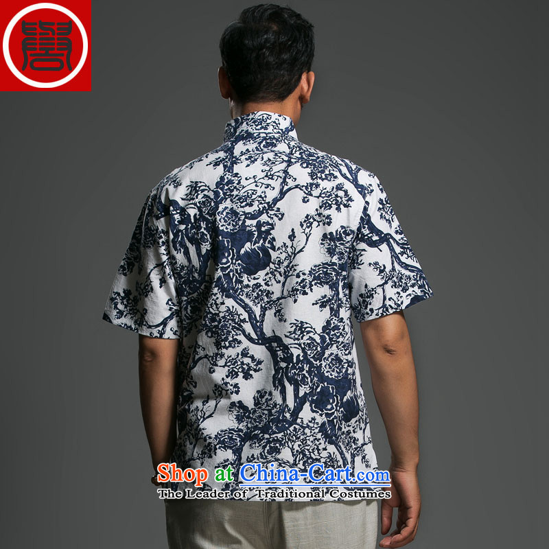 Renowned Chinese short-sleeved shirt linen clothes men and stylish lounge loose cotton linen tunic men linen clothes men short-sleeved blue, L, renowned (chiyu) , , , shopping on the Internet