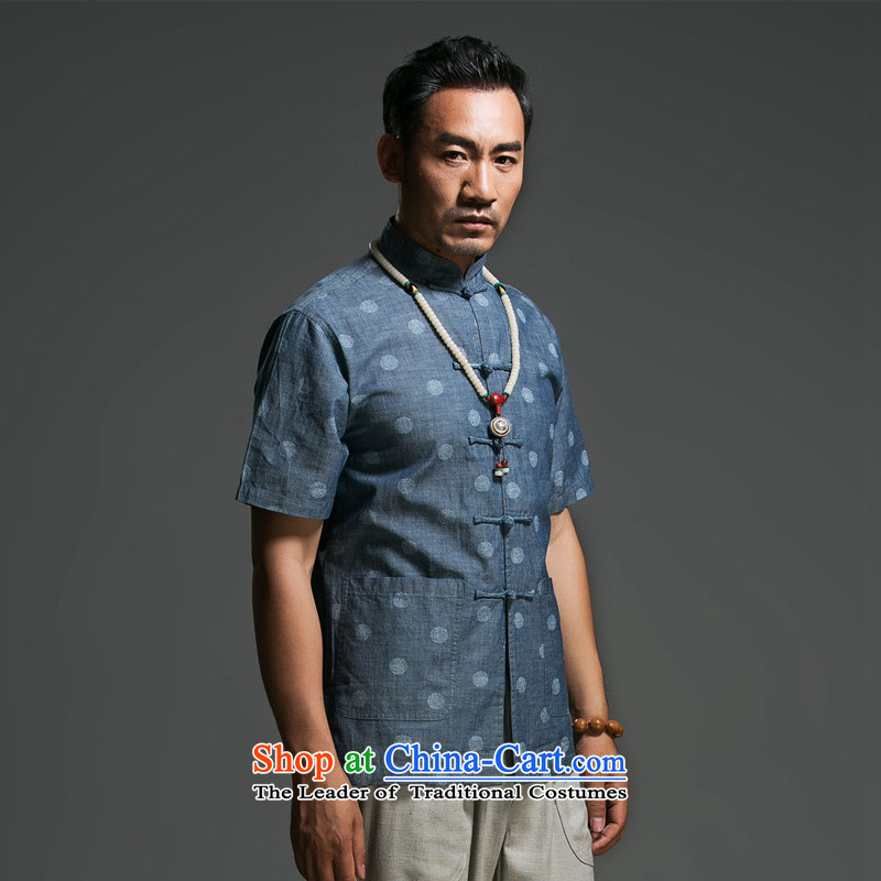 Renowned Chinese clothing summer short sleeve loose fit leisure men new summer herbs extract linen men short-sleeved shirt stamp Blue Wave燲XXL point