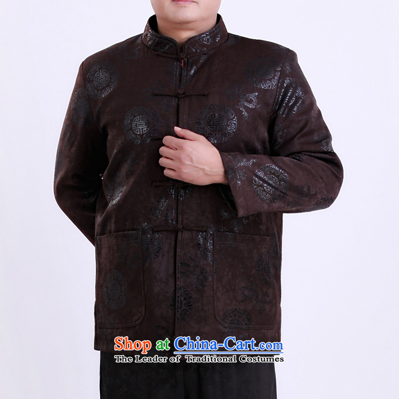 During the spring and autumn men Tang jackets Chinese Tang dynasty thin cotton in Tang Dynasty elderly men over life 13137 Brown聽185/ winter clothing clip cotton, Dili Shi Kai , , , shopping on the Internet