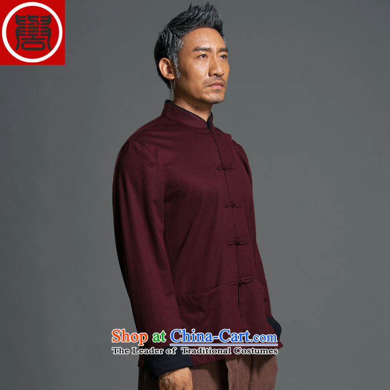 Renowned Chinese Services China wind and loose autumn Tang dynasty long-sleeved Men's Mock-Neck national disk chinese ties improved Han-jacket燲XXL red