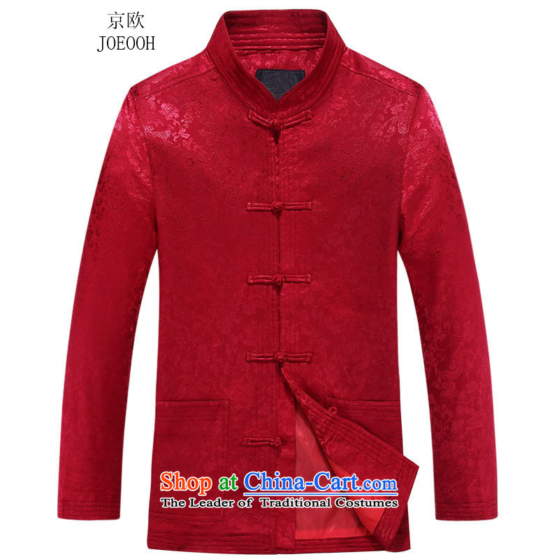 Beijing New European men's jackets Tang long-sleeved shirt collar China wind spring and autumn jacket Red聽185
