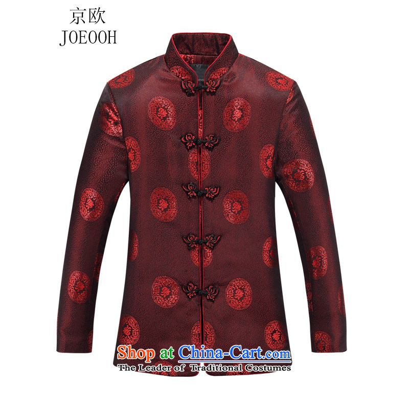 Beijing Europe autumn trendy new_ Older women's stamp single row detained men Tang blouses mom and dad couples blouses women red women 180