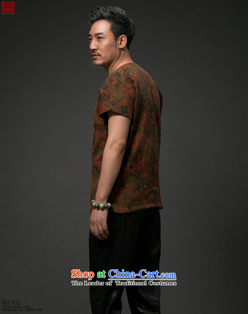 Renowned Chinese Services China wind men short-sleeved shirt Tang Dynasty Chinese silk silk shirts with men's cloud of incense yarn short-sleeved T-shirt red聽3XL picture, prices, brand platters! The elections are supplied in the national character of distribution, so action, buy now enjoy more preferential! As soon as possible.