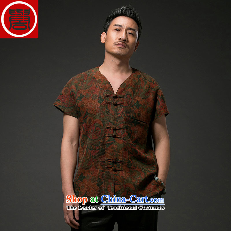 Renowned Chinese Services China wind men short-sleeved shirt Tang Dynasty Chinese silk silk shirts with men's cloud of incense yarn short-sleeved T-shirt聽3XL red