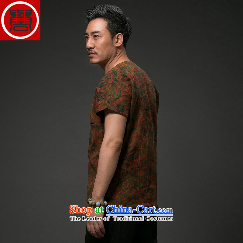 Renowned Chinese Services China wind men short-sleeved shirt Tang Dynasty Chinese silk silk shirts with men's cloud of incense yarn short-sleeved T-shirt red聽3XL, renowned (chiyu) , , , shopping on the Internet