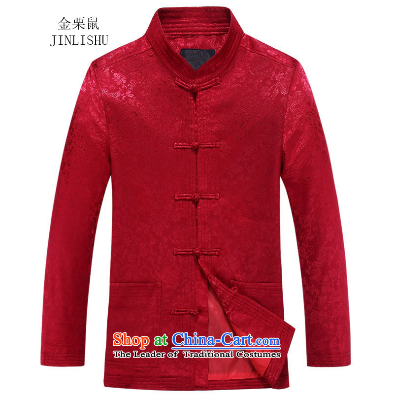 Kanaguri mouse autumn New Men Tang jackets long-sleeved shirt collar China wind jacket in older Red?185
