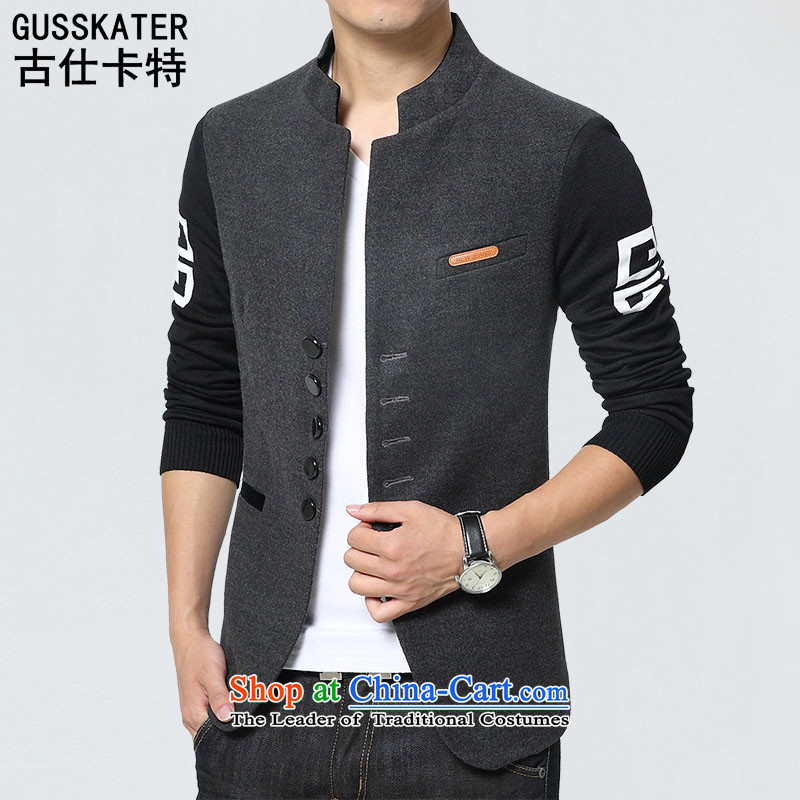 Mrs Rafael Hui�15 Autumn Chinese tunic stylish Carter leisure suit Male China Wind Jacket Tang 1015�L Gray