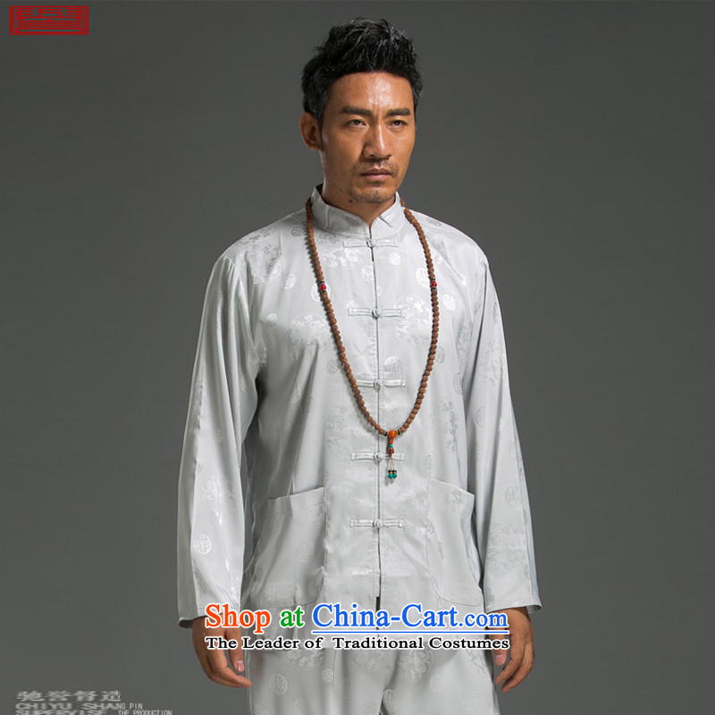 Renowned Chinese service Tang dynasty China wind and long-sleeved Tang Dynasty Package for summer package men t-shirt Chinese men White?2XL
