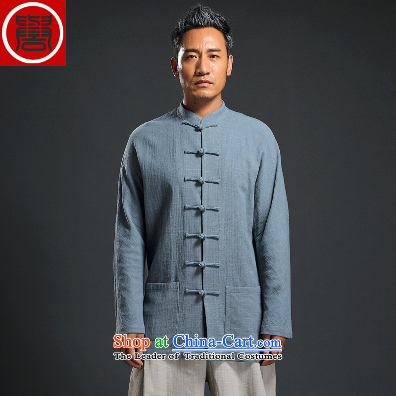 Renowned Chinese services fall short in long-sleeved men's disk-han-China wind linen men casual relaxd cotton linen shirts and 2,005?2XL
