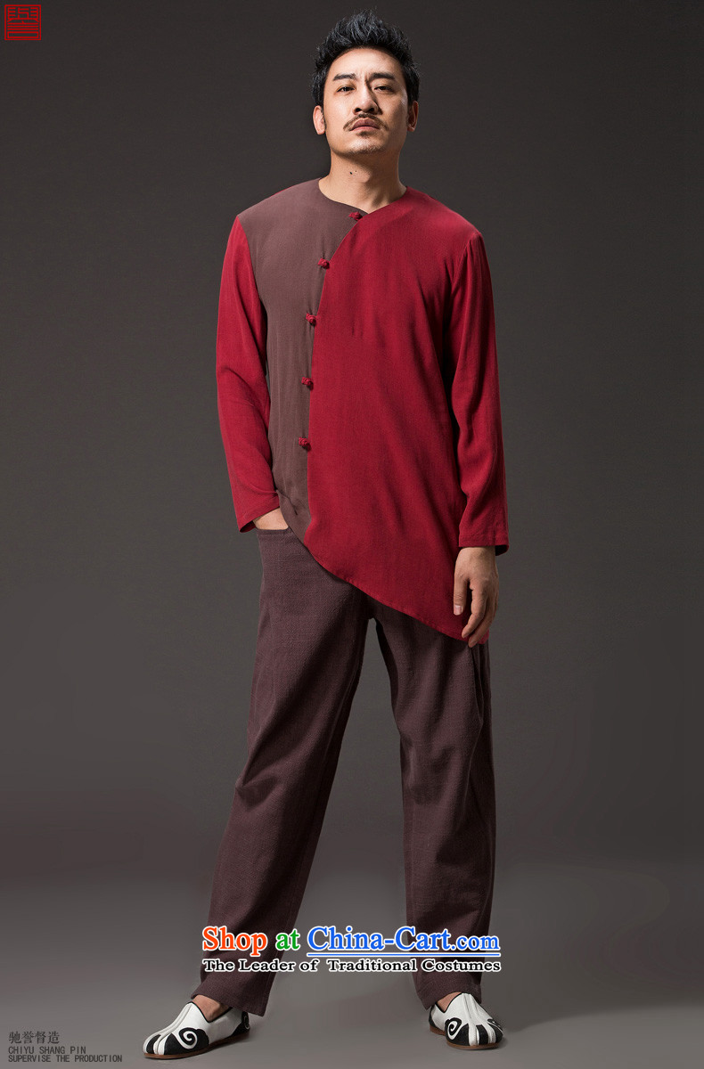 Renowned Chinese Services China wind men long-sleeved cotton linen men casual Chinese Disc detained men Tang dynasty middle-aged peoples individuality clothing red XL Photo, prices, brand platters! The elections are supplied in the national character of distribution, so action, buy now enjoy more preferential! As soon as possible.
