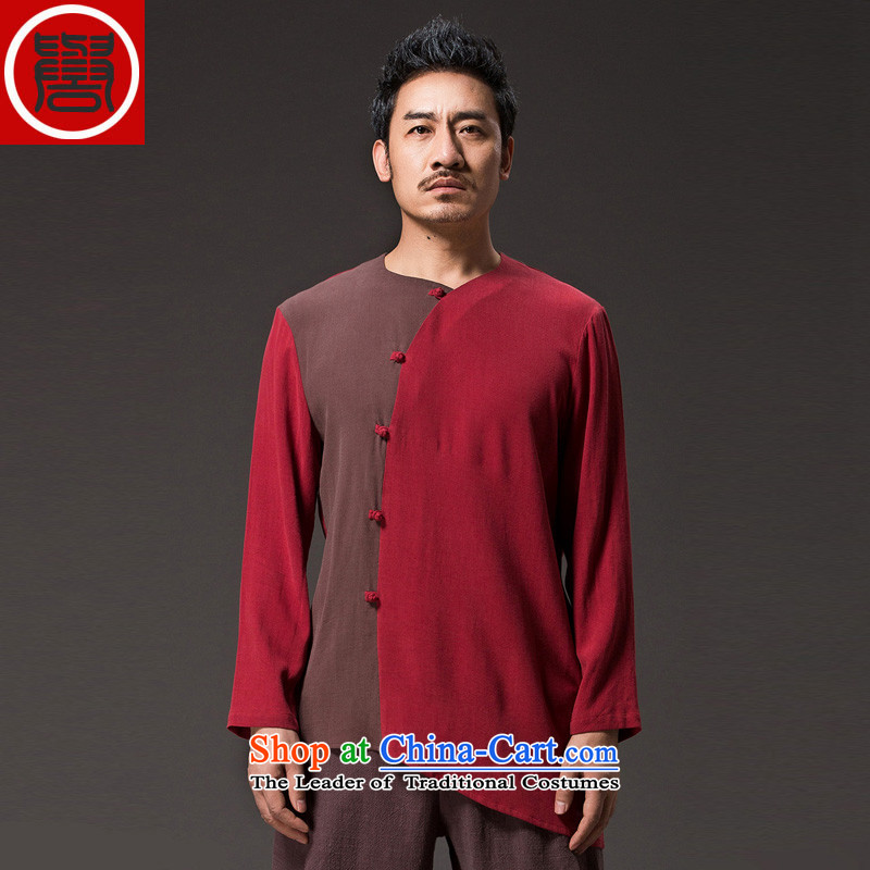 Renowned Chinese Services China wind men long-sleeved cotton linen men casual Chinese Disc detained men Tang dynasty middle-aged peoples individuality clothing red聽XL