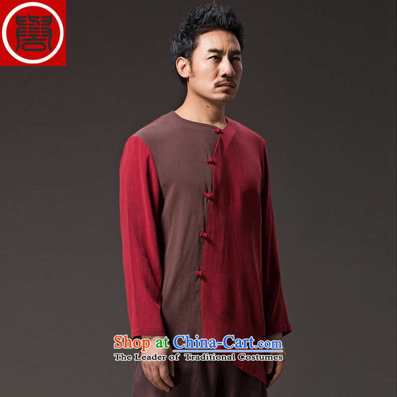 Renowned Chinese Services China wind men long-sleeved cotton linen men casual Chinese Disc detained men Tang dynasty middle-aged peoples individuality clothing red XL, renowned (chiyu) , , , shopping on the Internet