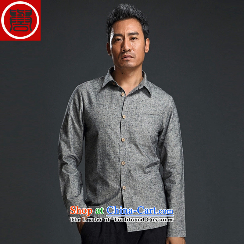 Renowned Chinese Services China wind men long-sleeved shirt and stylish lounge men fall short body yi shirts and decorated in dark gray燲L