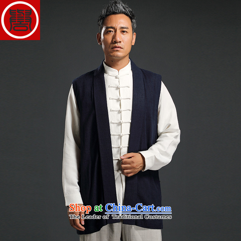 Renowned Chinese Services China wind men vest jacket cotton linen shawl style robes and t-shirt Chinese vest in the autumn of leisure shoulder blue�L