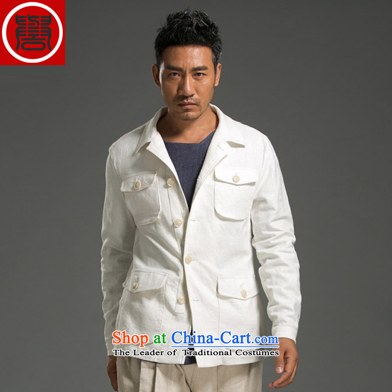 Renowned Chinese service men linen jacket lapel of Sau San Jacket coat men casual shirt�L White
