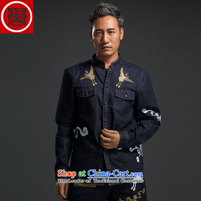 Renowned Chinese Services China wind-step Sean Lau cowboy long-sleeved shirt with retro stamp Xiangyun Cowboy Chinese jacket men blue?L