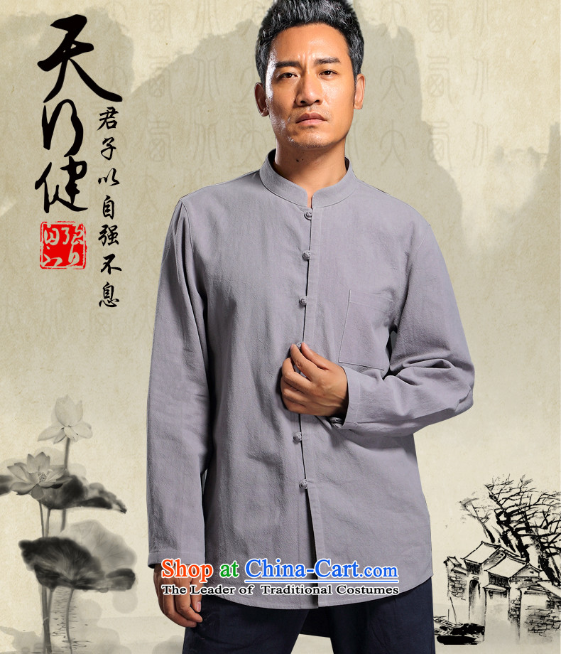 Renowned Chinese Men's Shirt linen service Tang dynasty loose solid color shirt autumn China wind men linen long-sleeved shirt Light Gray L picture, prices, brand platters! The elections are supplied in the national character of distribution, so action, buy now enjoy more preferential! As soon as possible.
