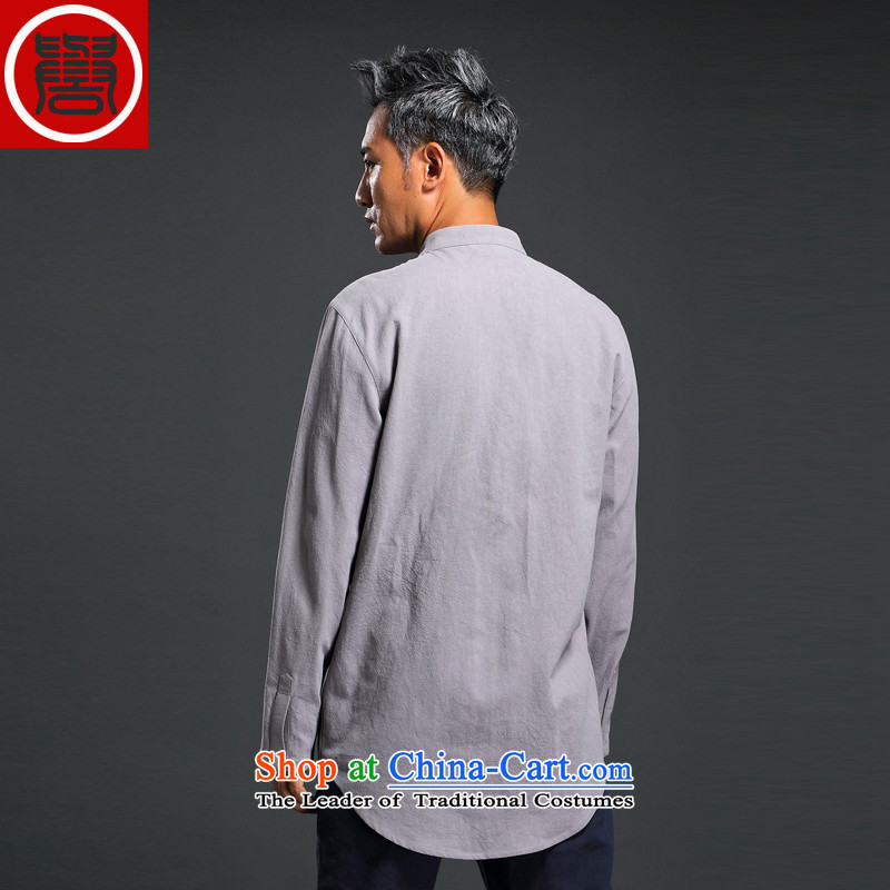 Renowned Chinese Men's Shirt linen service Tang dynasty loose solid color shirt autumn China wind men linen long-sleeved shirt , L, renowned light gray (chiyu) , , , shopping on the Internet
