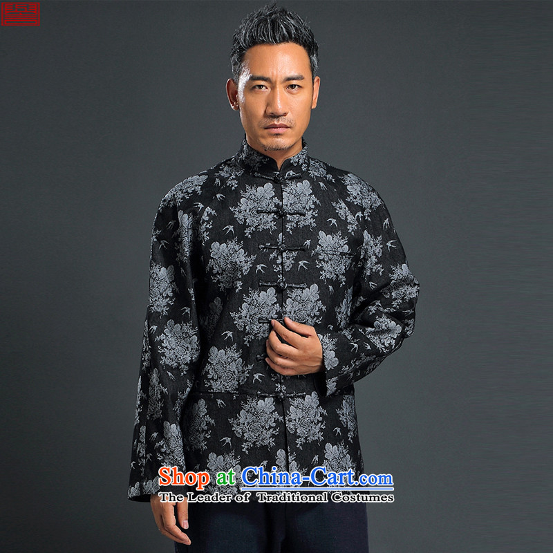 Renowned Chinese Tang dynasty Chinese men Service Manual Tray Tie China Wind Jacket Stylish retro knitting cowboy shirt collar jacket Black聽XL