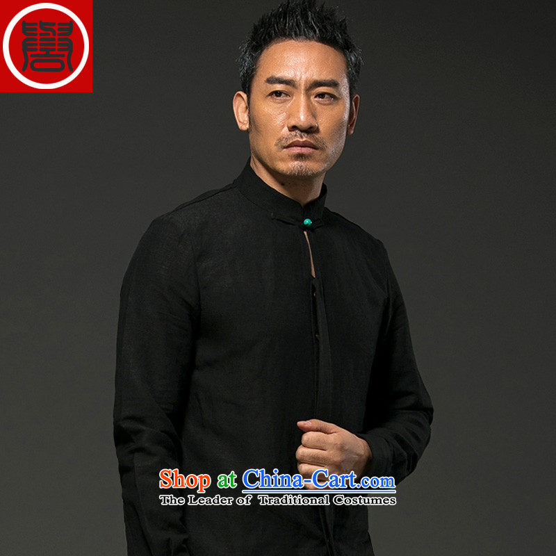 Renowned Chinese services during the spring and autumn men long-sleeved linen with leisure linen china wind loose cotton linen shirts and blouses Tang Black燲L