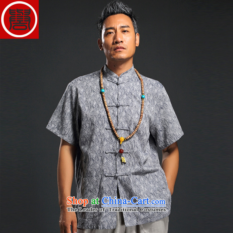 Renowned Chinese Services China wind 2015 Summer New Men linen in his shirt-sleeves retro men Tang dynasty cotton linen tunic thin, gray XL