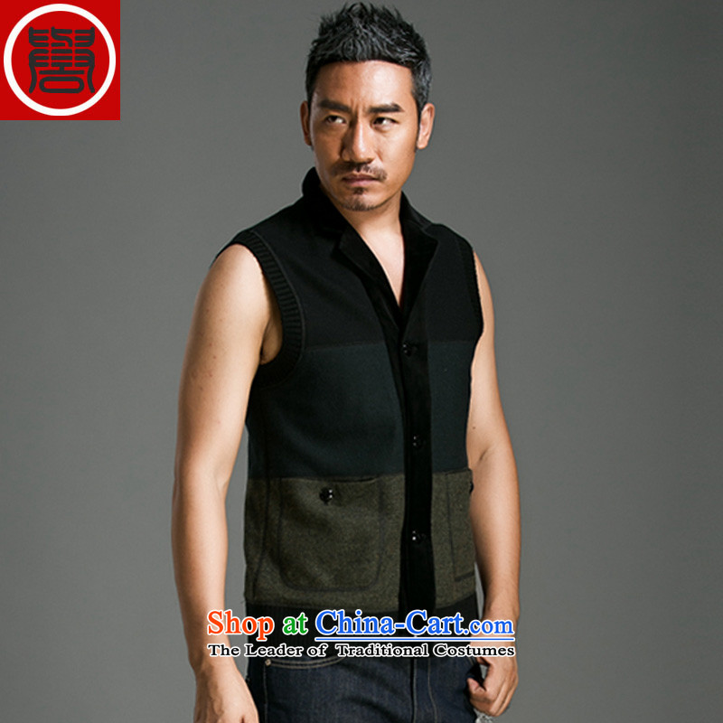 Renowned Chinese services fall of Chinese Wind single row clip relaxd casual retro vest lapel sleeveless jacket male business men carbon?185