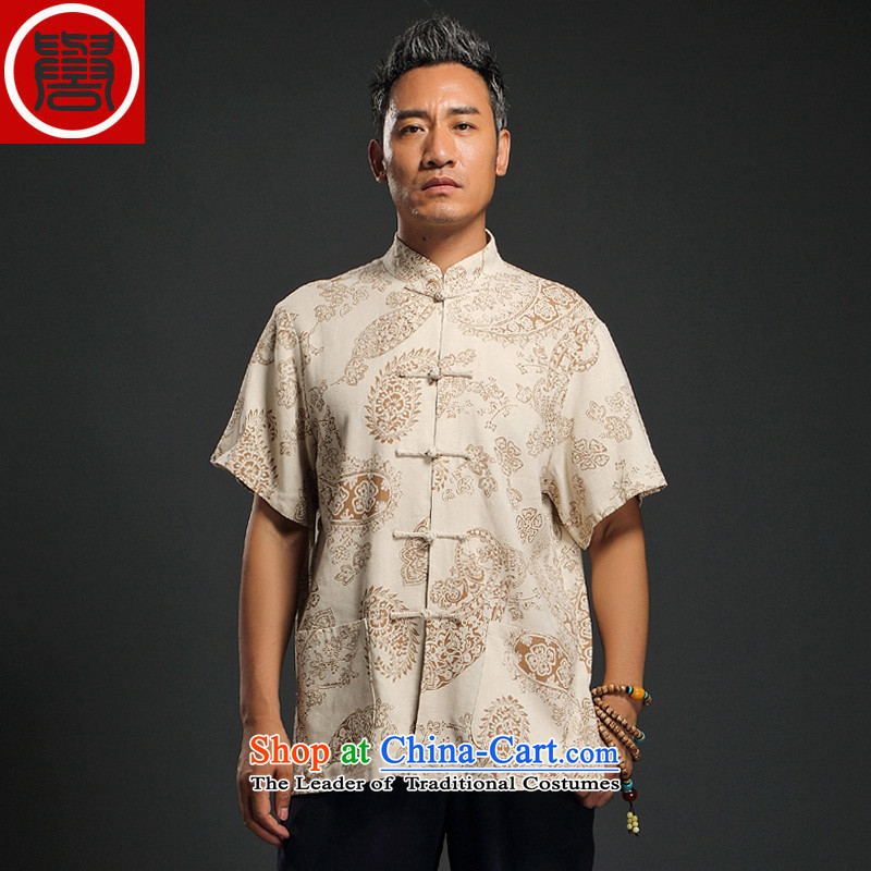 Renowned Chinese Services China wind linen men short-sleeved blouses and middle-aged Tang Chinese Disc detained shirt retro summer men m Yellow聽4XL
