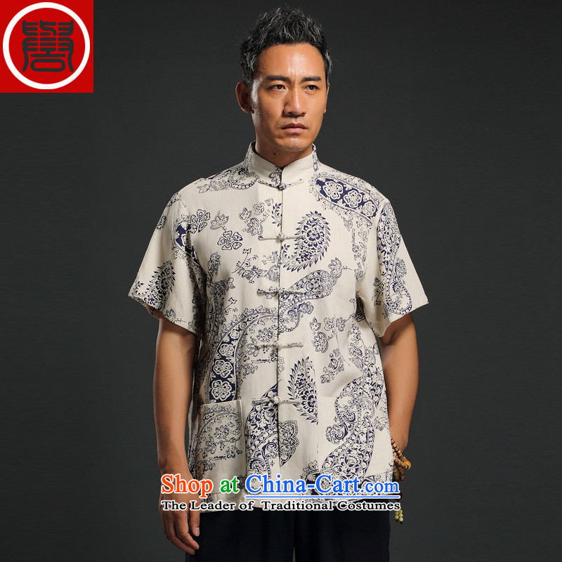 Renowned Chinese Services China wind linen men short-sleeved blouses and middle-aged Tang Chinese Disc detained shirt retro summer men m Yellow聽4XL, renowned (chiyu) , , , shopping on the Internet