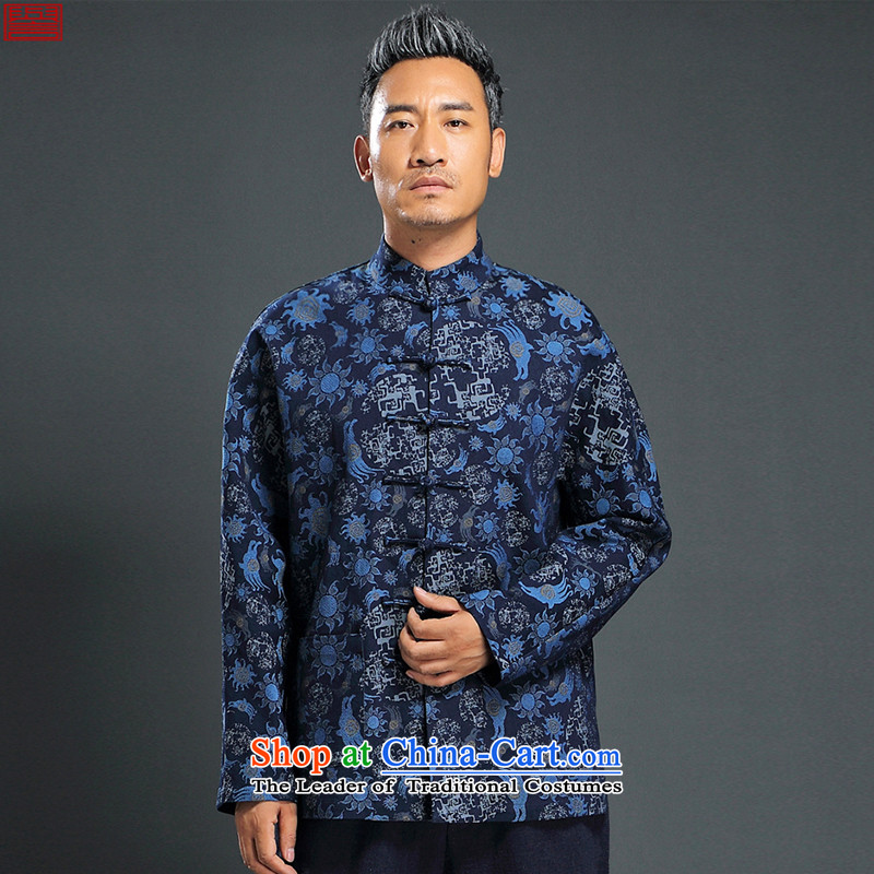 Renowned Chinese Services China wind knitting cowboy Tang Dynasty Chinese Manual Tray detained men jacket Stylish coat collar retro shirt blue�L