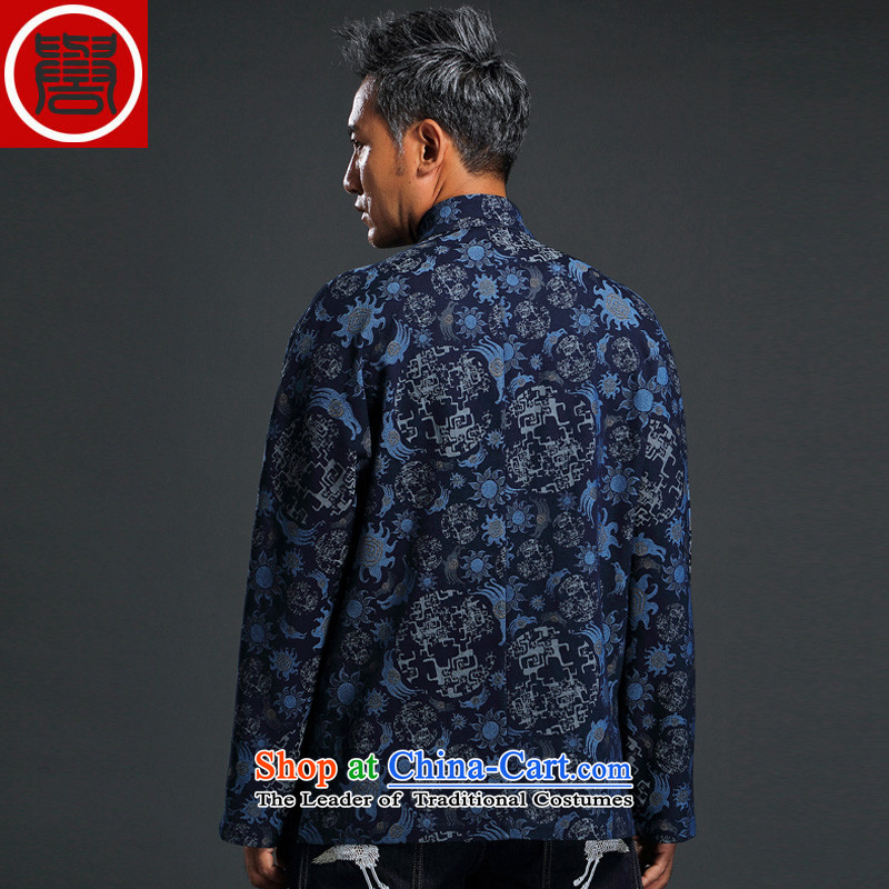 Renowned Chinese Services China wind knitting cowboy Tang Dynasty Chinese Manual Tray detained men jacket Stylish coat collar retro shirt blue聽3XL, renowned (chiyu) , , , shopping on the Internet