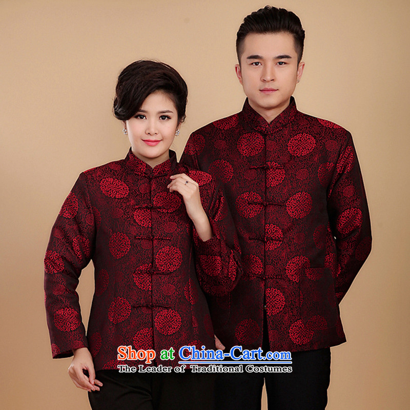 The factory of ex-gratia Tang Dynasty Chinese knots between women and men casual mom and dad golden marriage in spring and autumn older couples jacket燦2070 replacing燤s. red cotton_ _2XL Folder