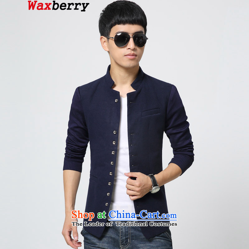 2015 Korean waxberry collar small business suit male and single West Tang Dynasty Chinese tunic stitching Knitted cuffs Sau San men leisure suit Male Blue聽M聽suitable for 105 catties of