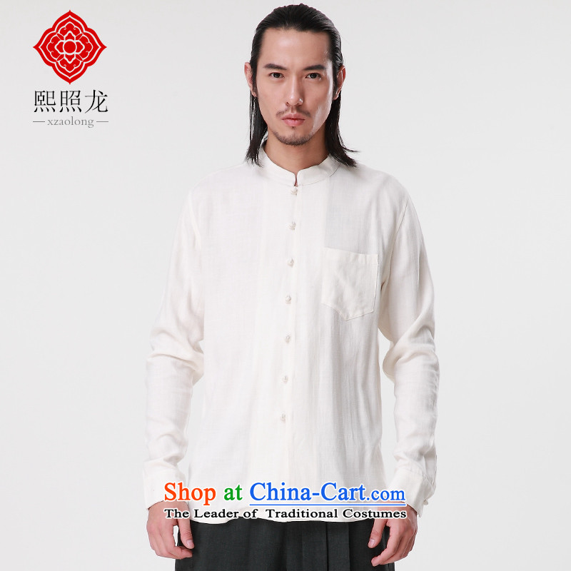 Hee-snapshot lung autumn and winter new Tang dynasty China wind shirt leisure Men's Mock-Neck Shirt, long-sleeved Tang Dynasty Han-White聽M