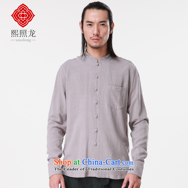 Hee-snapshot lung autumn and winter new Tang dynasty China wind shirt leisure Men's Mock-Neck Shirt, long-sleeved Tang Dynasty Han-WhiteM-hee (XZAOLONG snapshot lung) , , , shopping on the Internet