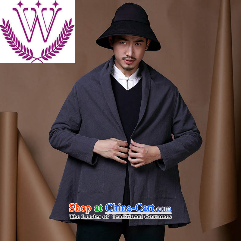 Name of China wind improved men Tang Dynasty Chinese cotton linen coat a typeface cloak casual clothing personality trend of men of the Dark Blue?170