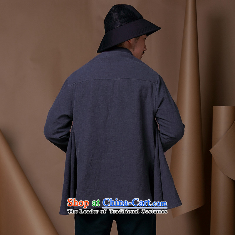 Name of China wind improved men Tang Dynasty Chinese cotton linen coat a typeface cloak casual clothing personality trend of men of the dark blue聽170, each option has been pressed shopping on the Internet