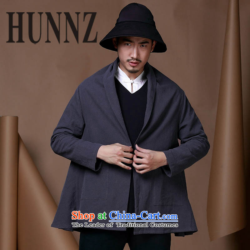 Improved China wind HUNNZ men Tang Dynasty Chinese cotton linen coat a typeface cloak casual clothing personality trend of men of the Dark Blue?185