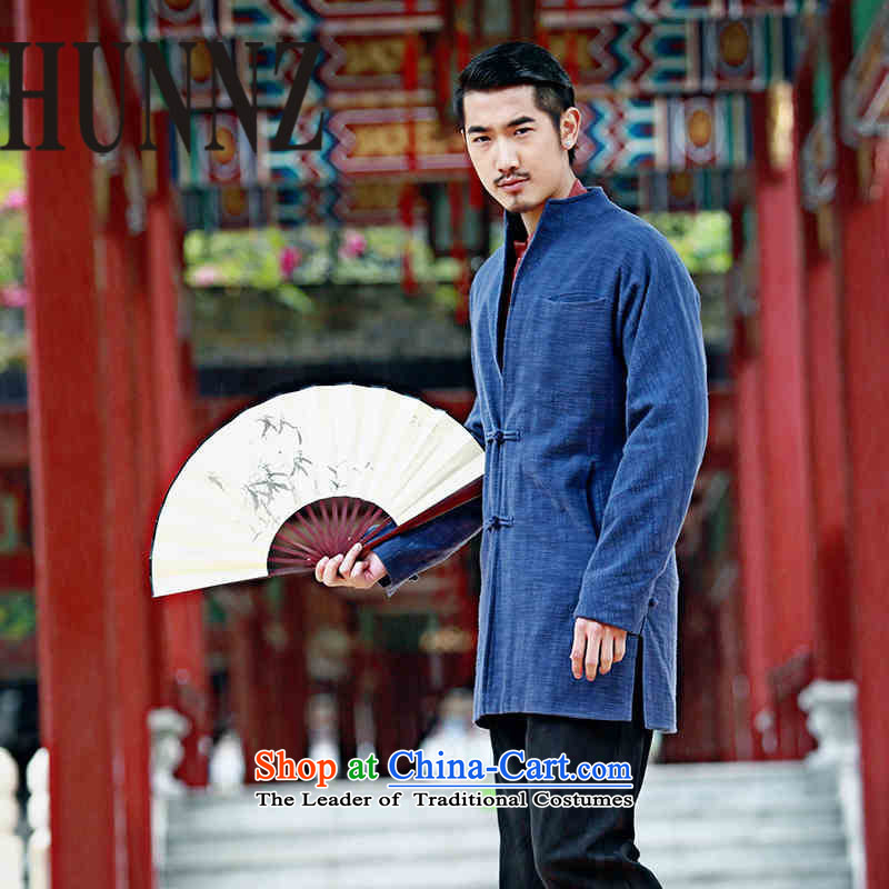 New products of traditional Chinese HUNNZ wind linen men Tang Dynasty Chinese long-sleeved sweater disc detained men cotton linen dress Blue聽170