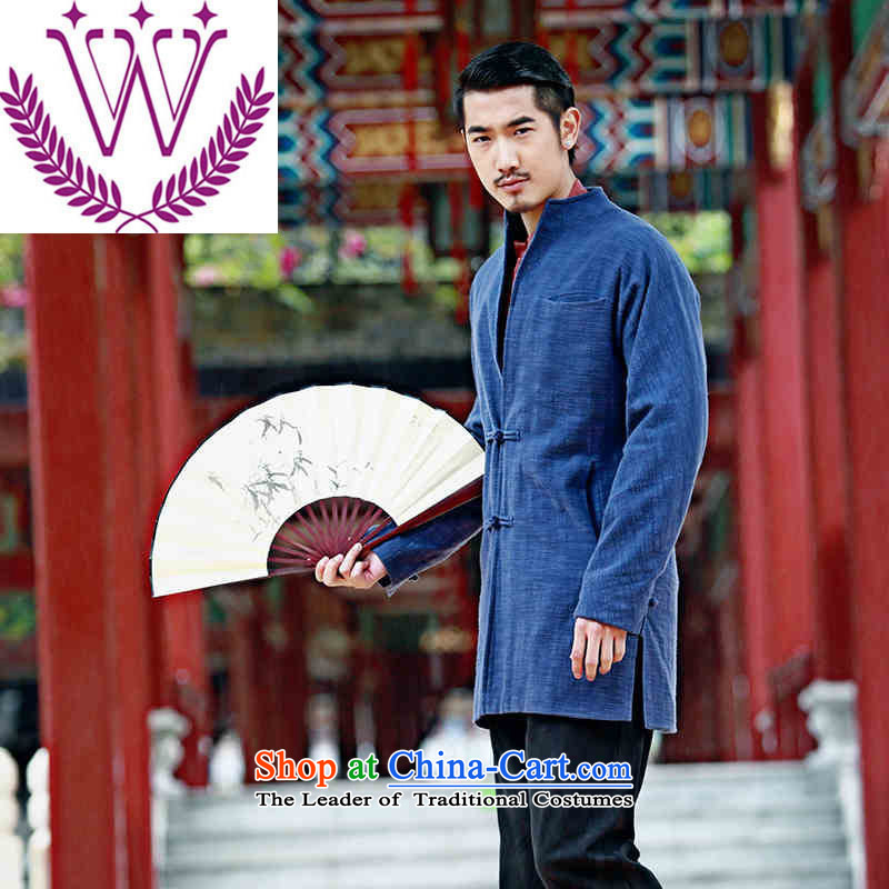 Name of the new products of traditional Chinese Wind linen men Tang Dynasty Chinese long-sleeved sweater disc detained men cotton linen dress Blue�0