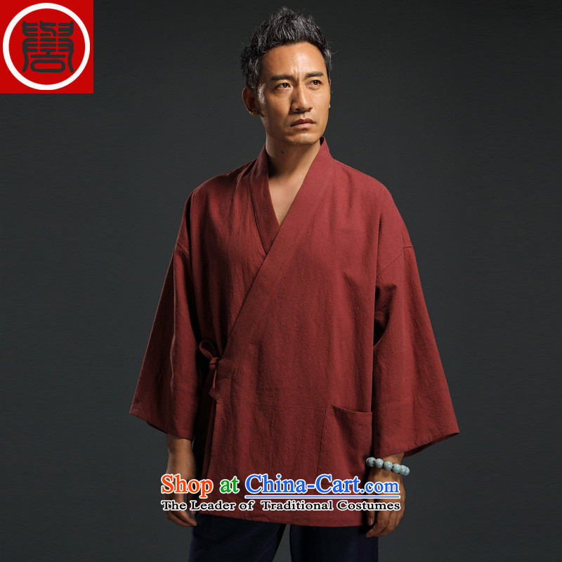 Renowned Chinese Wind linen men retro Han-to fulfill his breast cardigan leisure Tang dynasty men t-shirt tea service orange?XXL