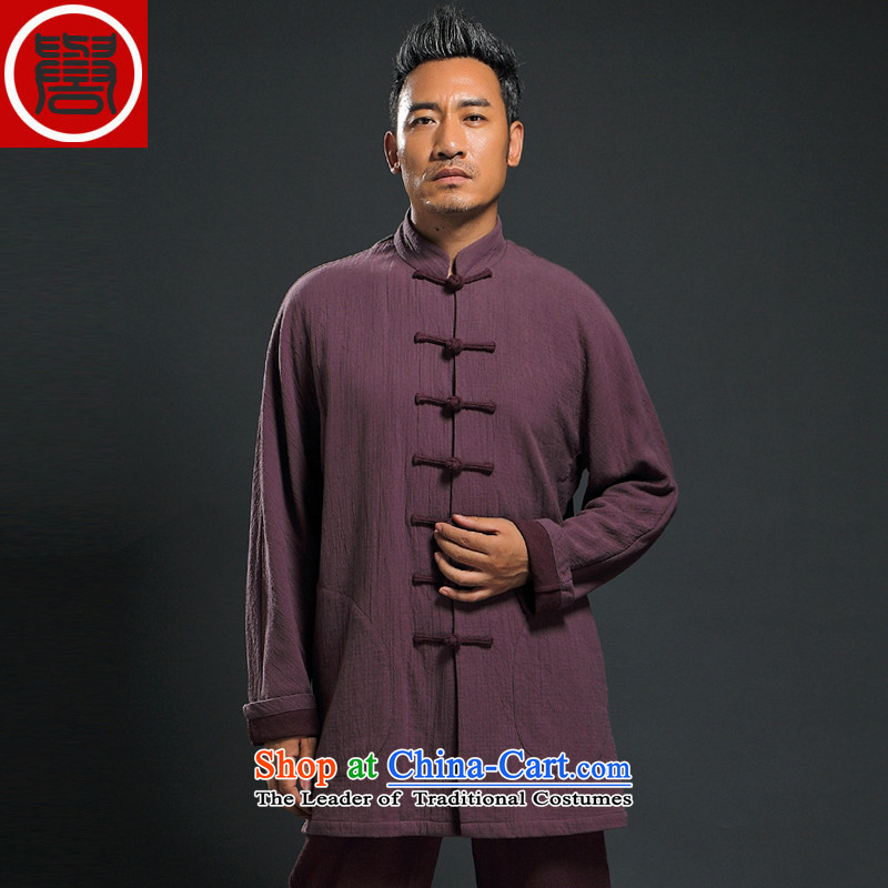 Renowned new fall ethnic men Tang Dynasty Chinese long-sleeved improvements Han-China wind ball-Tang Dynasty to men and wine red燲XL