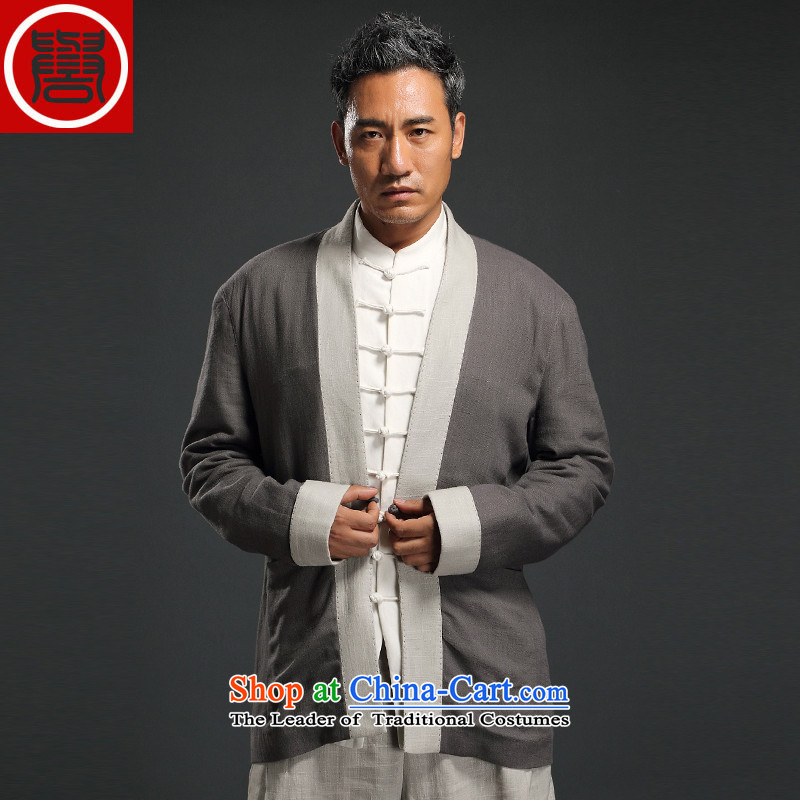 Renowned China wind linen Han-long-sleeved male cardigan improved Tang blouses Chinese Tang dynasty retro autumn men Gray燣