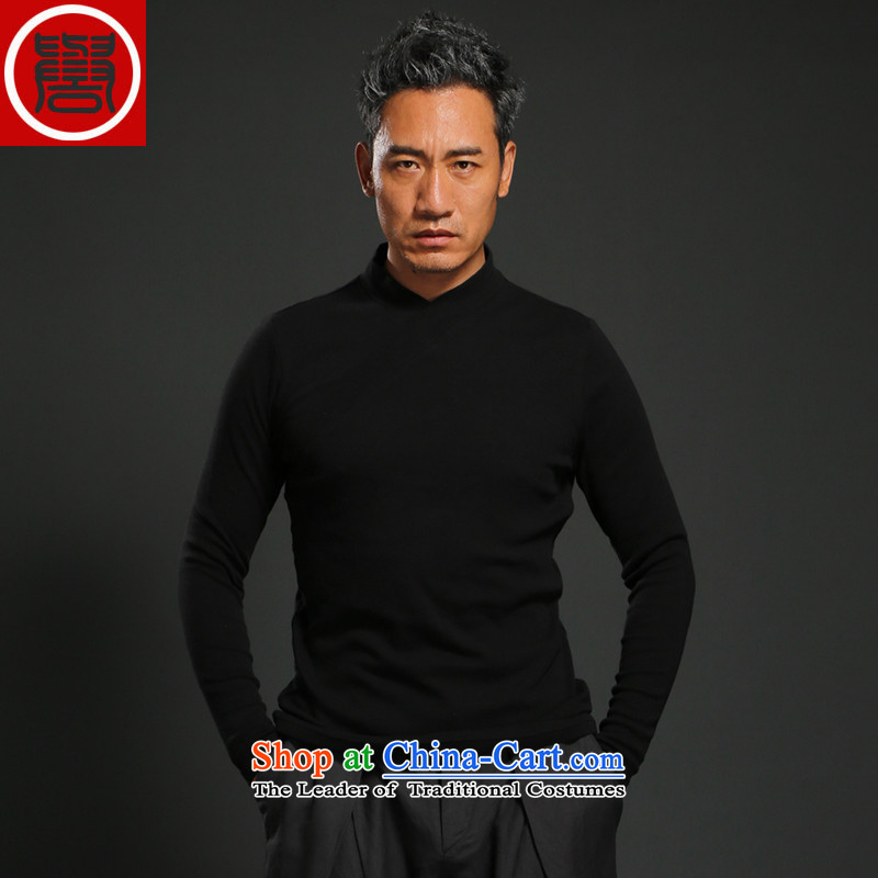 Renowned Chinese clothing retro China wind to fulfill his long-sleeved T-shirt black men Chinese Han-male suite Sau San long-sleeved shirt, forming the basis of the head of the Netherlands autumn black�L