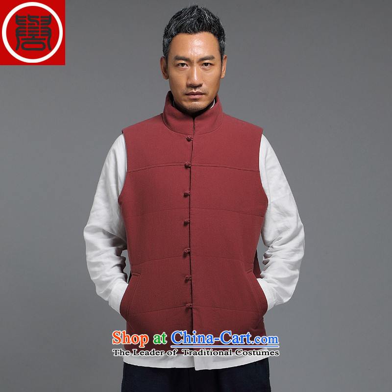 Renowned China Wind Vest the autumn and winter Tang dynasty national men's Chinese collar short jacket, men's sleeveless jacket聽XXXL orange
