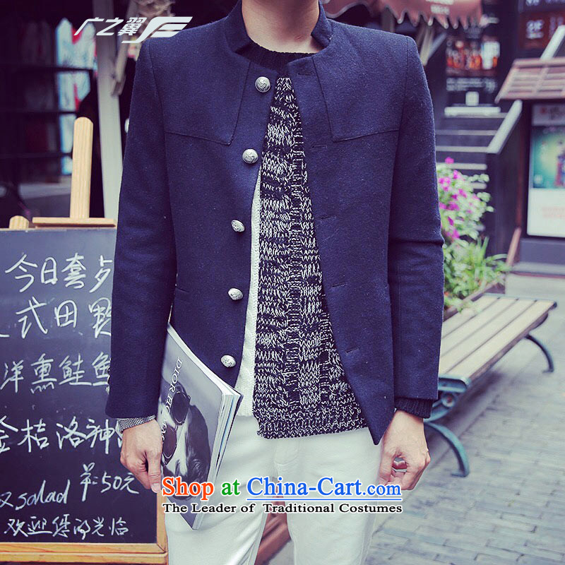 Wide Wing men is smart casual, Chinese tunic men thick hair? collar Coat small dark blue suit?M