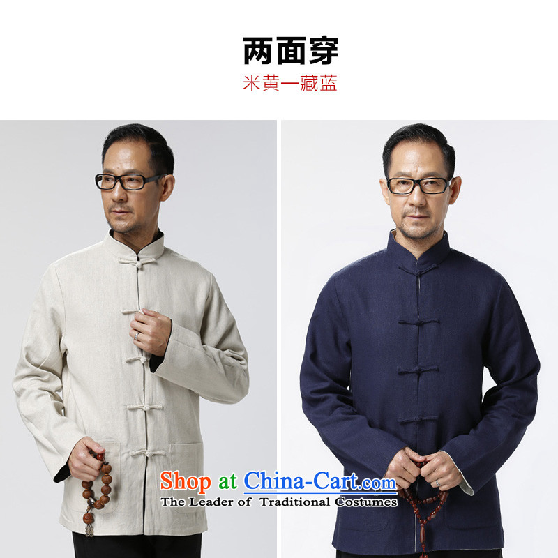Ho Chi Reversible Tang dynasty male jacket cotton linen clothes older men with father Han-grandfather ball possession blue (service on both sides of beige through) M